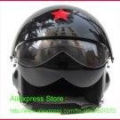 TK Chinese Military Air Force Jet Pilot Open Face Motorcycle Black Helmet & Visor Free