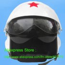 TK Chinese Military Air Force Jet Pilot Open Face Motorcycle White Helmet & Visor Free