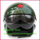 TK Chinese Military Air Force Jet Pilot Open Face Motorcycle Green Helmet & Visor Free