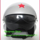 TK Chinese Military Air Force Jet Pilot Open Face Motorcycle Silver Helmet & Visor Free