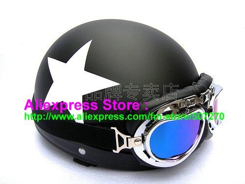 P.02 ABS Half Bol Vespa Cycling Open Face Motorcycle Matt Black Helmet Casco Casque & Goggles Free