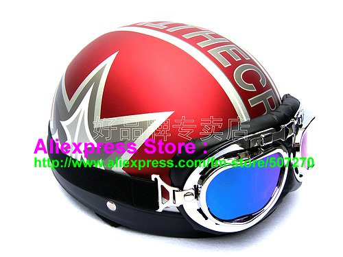 P.22 ABS Half Bol Cycling Open Face Motorcycle Matt Red # character Helmet Casco Casque & Goggles