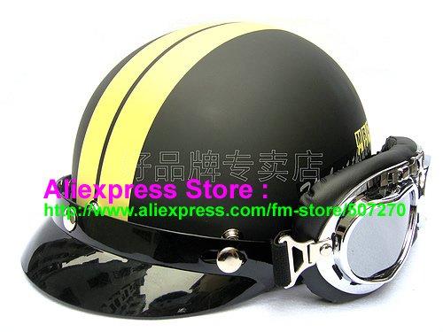 P.30 ABS Half Bol Cycling Open Face Motorcycle Matt Black # Yellow Helmet Casco Casque & Goggles