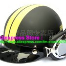 P.30 ABS Half Bol Cycling Open Face Motorcycle Matt Black # Yellow Helmet Casco Casque & Goggles