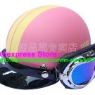 P.38 ABS Half Bol Cycling Open Face Motorcycle Matt Pink # Yellow Helmet Casco Casque & Goggles