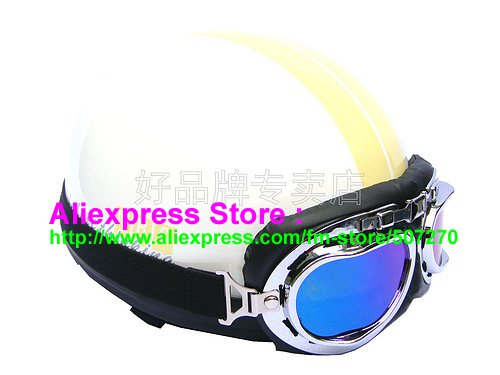 P.40 ABS Half Bol Cycling Open Face Motorcycle White # Yellow Helmet Casco Casque & Goggles