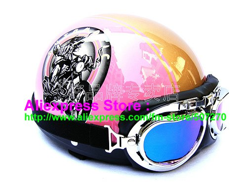 P.65 ABS Half Bol Cycling Open Face Motorcycle Pink # Motor pattern Helmet Casco Casque & Goggles