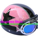 P.72 ABS Half Bol Cycling Open Face Motorcycle Pink # Black Star Helmet Casco Casque & Goggles