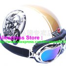 P.75 ABS Half Bol Cycling Open Face Motorcycle White # Motor pattern Helmet Casco Casque & Goggles