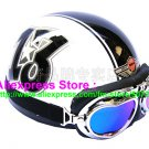 P.78 ABS Half Bol Cycling Open Face Motorcycle White # Black 13 Helmet Casco Casque & Goggles