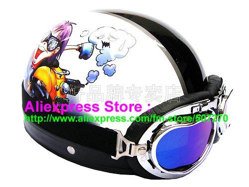 P.81 ABS Half Bol Cycling Open Face Motorcycle White # Motor Boy Helmet Casco Casque & Goggles