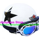 P.82 ABS Half Bol Cycling Open Face Motorcycle White # Black Star Helmet Casco Casque & Goggles