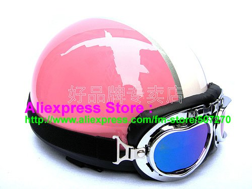 P.88 ABS Half Bol Cycling Open Face Motorcycle Pink # White Helmet Casco Casque & Goggles