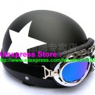 P.95 ABS Half Bol Cycling Open Face Motorcycle Matt Black # White Star Helmet Casco Casque & Goggles