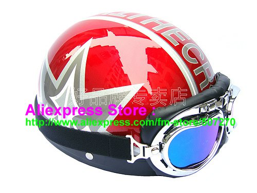 P.96 ABS Half Bol Cycling Open Face Motorcycle Red # character Helmet Casco Casque & Goggles
