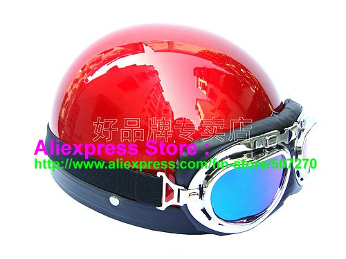P.100 ABS Half Bol Cycling Open Face Motorcycle Full Red Helmet Casco Casque & Goggles