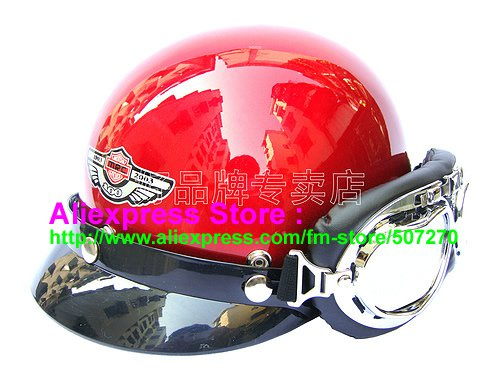 P.101 ABS Half Bol Cycling Open Face Motorcycle Full Red Helmet Casco Casque & Goggles