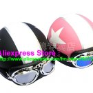 A.04- 2 Unit ABS Half Bol Vespa Cycling Open Face Motorcycle Matt Black + Pink Helmets & Goggles