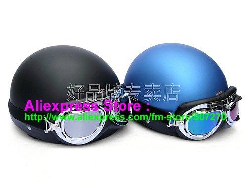 A.06- 2 Unit ABS Half Bol Vespa Cycling Open Face Motorcycle Matt Black + Blue Helmets & Goggles