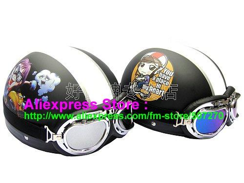 A.14- 2 Unit ABS Half Bol Vespa Cycling Open Face Motorcycle Matt Black + Black Helmets & Goggles