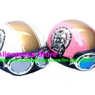 A.26- 2 Unit ABS Half Bol Vespa Cycling Open Face Motorcycle White + Pink Helmets & Goggles