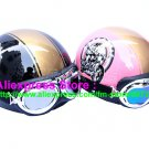 A.35- 2 Unit ABS Half Bol Vespa Cycling Open Face Motorcycle Black + Pink Helmets & Goggles