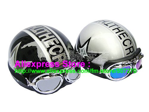 A.39- 2 Unit ABS Half Bol Vespa Cycling Open Face Motorcycle Black + Silver Helmets & Goggles