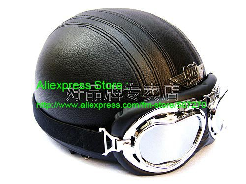 YH-998 Leather Half Bol Cycling Open Face Motorcycle Open Face Full Black Helmet & Silver Goggles