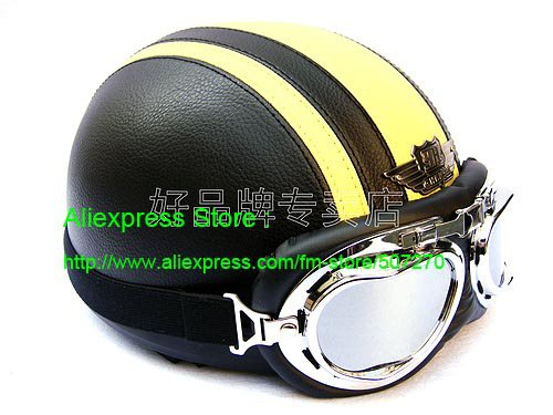 YH-998 Leather Half Bol Cycling Open Face Motorcycle Open Face Black Yellow Helmet & Silver Goggles