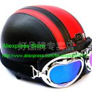 YH-998 Leather Half Bol Cycling Open Face Motorcycle Open Face Black Red Helmet & Color Goggles