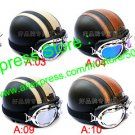 YH-998 6 Colors Leather Half Bol Cycling Open Face Motorcycle Open Face Helmet & Goggles Free