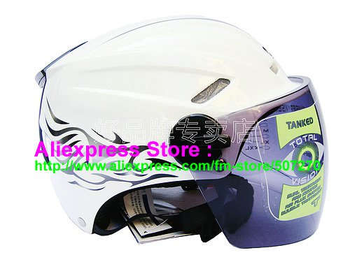 "New Germany ""Tanked 501"" Half Vespa Motorcycle Open Face Racing Cycling White Helmet"