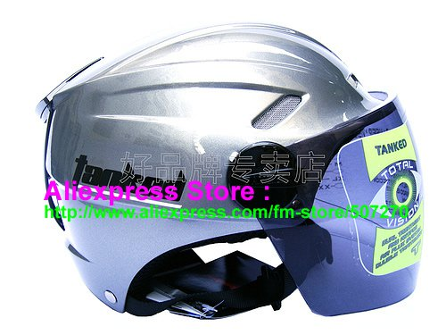 """New Germany """"Tanked 501"""" Half Vespa Motorcycle Open Face Racing Cycling Silver Helmet"""