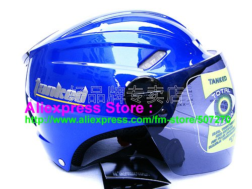 """New Germany """"Tanked 501"""" Half Vespa Motorcycle Open Face Racing Cycling Blue Helmet"""