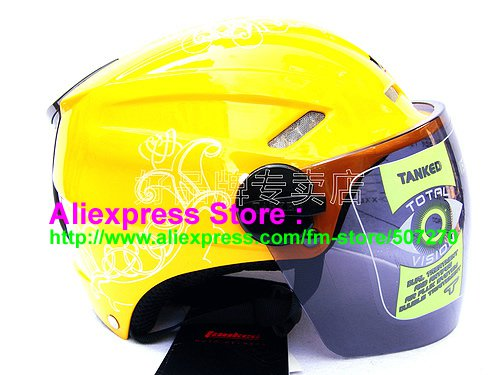 """New Germany """"Tanked 501"""" Half Vespa Motorcycle Open Face Racing Cycling Yellow Helmet"""