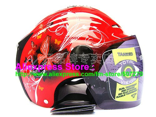 """New Germany """"Tanked 502"""" Half Vespa Motorcycle Open Face Racing Cycling Red Helmet"""