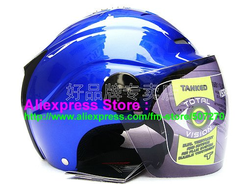 """New Germany """"Tanked 502"""" Half Vespa Motorcycle Open Face Racing Cycling Blue Helmet"""