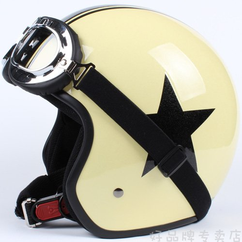 """H.01 3/4 Taiwan """" EVO """" Cycling Open Face Casque Motorcycle Yellow # Black Star Helmet & UV Goggles"""