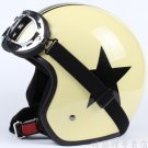 "H.01 3/4 Taiwan "" EVO "" Cycling Open Face Casque Motorcycle Yellow # Black Star Helmet & UV Goggles"