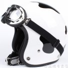 "H.05 Taiwan "" HUA TAI "" ABS Scooter Open Face Motorcycle dairy cow Black # White Helmet & UV Goggles"