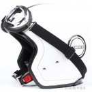 """H.06 Taiwan """" HUA TAI """" ABS Scooter Open Face Motorcycle White chequer """"ANDES"""" Helmet & UV Goggles"""