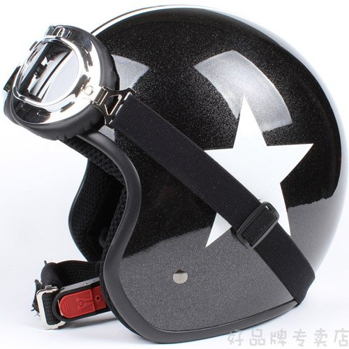 "H.08 Taiwan "" EVO "" ABS Motorbike Open Face Motorcycle Bright Black # White Star Helmet & UV Goggles"