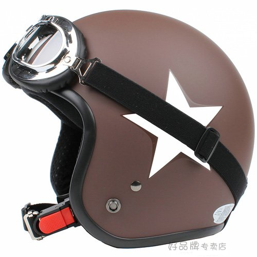 """H.09 Taiwan """" SYC """" ABS Open Face Casco Motorcycle Matte Coffee # White Star Helmet & Goggles"""
