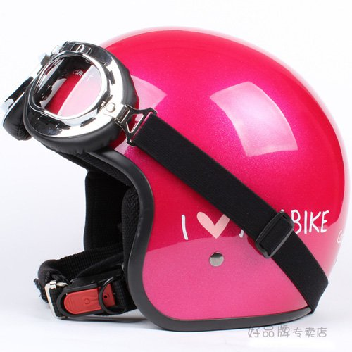 """H.10 Taiwan """" EVO """" ABS Scooter Open Face Casque Motorcycle Red """" MY BIKE """" Helmet & UV Goggles"""