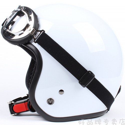 "H.11 Taiwan "" SYC "" ABS Cycling Open Face Casco Motorcycle Full Bright White Helmet & UV Goggles"