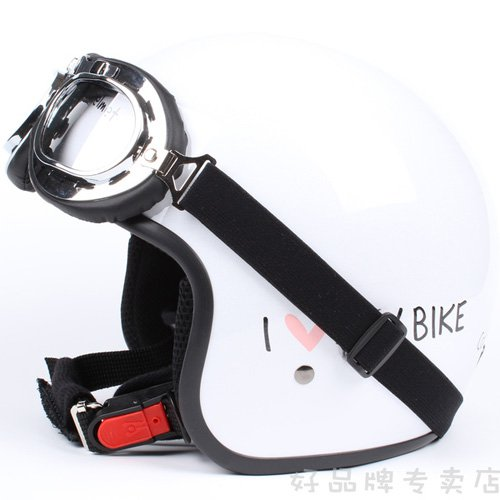 "H.13 aiwan "" EVO "" ABS Cycling Open Face Casque Motorcycle White "" MY BIKE "" Helmet & UV Goggles"