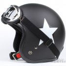 "H.14 Taiwan "" SYC "" ABS Open Face Casco Motorcycle Matte Black # White Star Helmet & UV Goggles"