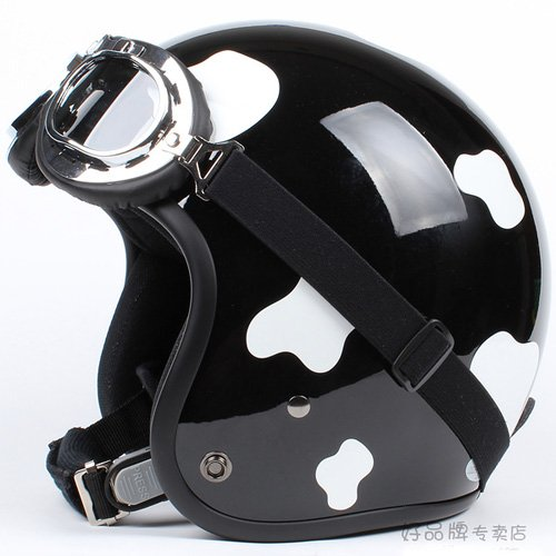 """H.19 Taiwan """" HUA TAI """" ABS Open Face Helm Motorcycle dairy cow Black # White Helmet & UV Goggles"""
