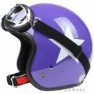 "H.20 Taiwan "" SYC "" ABS Open Face Helm Motorcycle Gloss Purple # White Star Helmet & UV Goggles"