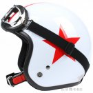 "H.21 Taiwan "" SYC "" ABS Half Face Casco Motorcycle Gloss White # Red Star Helmet & UV Goggles"
